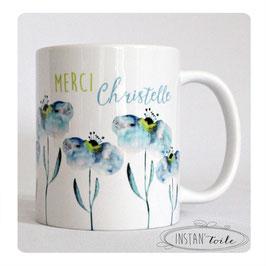 MUG Aquarelle de fleurs bleues avec texte au choix