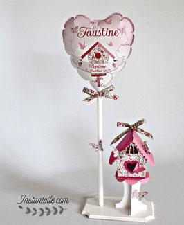 Ballon et nichoir avec papillons en Liberty Eloïse rose pour décoration