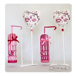 """Ballon personnalisé et cage 3D n couleur - thème """"cages à oiseaux multicolores"""""""