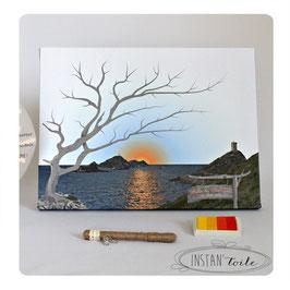 """Arbre à empreintes """"coucher de soleil sur les Iles sanguinaires en Corse"""""""