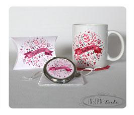 Duo cadeau : mug + miroir à personnaliser - motif floral rose fuchsia