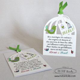 Carte de remerciement forme cage à oiseaux - couleurs des oiseaux au choix
