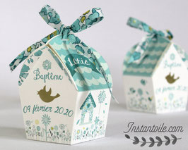 """Boites forme nichoir - thème """"oiseaux et liberty Betsy Mint & Lemon"""""""