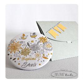 Lot de magnets pour remercier vos proches - oiseaux sur motif floral - gris ocre et fanions dorés