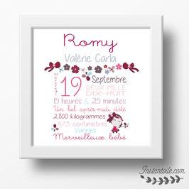 Tableau naissance personnalisé 30 x 30 cm : Fillette et guirlande de fleurs pour décoration chambre de bébé fille