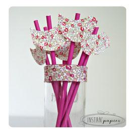 """8 pailles pour table de fête thème """"Oiseau en liberty Éloïse rose"""""""