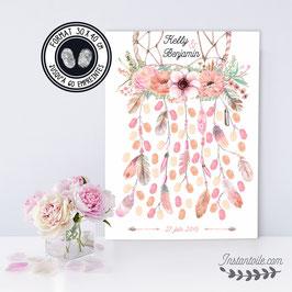 """Tableau à empreintes """"dreamcatcher"""" : attrape rêves pêche et rose avec couronne de fleurs avec plumes en aquarelle"""""""