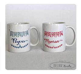 """Duo mugs """"super papa et maman"""" cage et oiseaux en liberty - idéal cadeau naissance"""