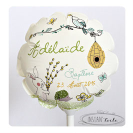 """Ballon personnalisé : """"Au jardin : nuances de vert, jaune et blanc"""""""