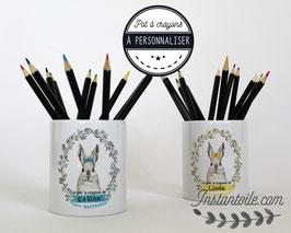 """Pot à crayons """"lapin et couronne de feuillage""""  : cadeau de fin d'année scolaire pour maitre, maitresse, enseignant, AVS, école, collège..."""