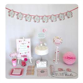 """kit anniversaire """"fleurs, ballons, et fanions aux couleurs pastel"""""""