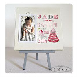 Tableau 30x30 cm - souvenir de baptême - thème cupcake et macarons rose et gris