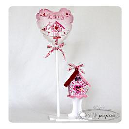 Ballon et Nichoir Liberty Phoebe rose rouge pour décoration