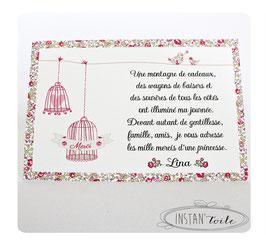 """Carte de remerciement pour naissance, baptême... thème """"cages à oiseaux en liberty"""""""