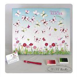 Tableau à empreintes : papillons et champs de fleurs