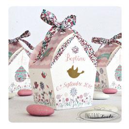 """Boite forme nichoir - thème """"oiseaux et liberty Eloïse pastel"""""""