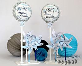 ballon personnalisé et 3 moulins à vent qui tournent en liberty bleu pour décoration