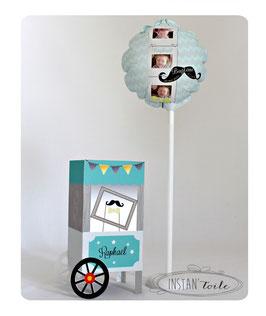 """Ballon et stand photobooth - thème """"moustache noire et noeud papillon jaune"""""""