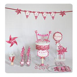 """kit anniversaire """"moulins à vent et liberty rose"""""""