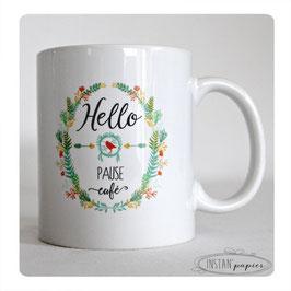 MUG HELLO pause café - couronne de feuilles vert ocre brique