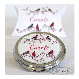 """Miroir """"Oiseaux sur branches de cerisiers en fleurs : noir et framboise"""""""