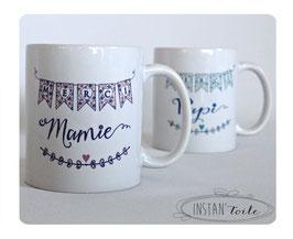 """Duo mugs spécial grand-parents : """"super papy et mamie"""" cage et oiseaux en liberty"""