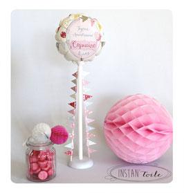 Ballon personnalisé et guirlande de 20 fanions - tonalités pastel