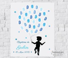 Tableau à empreintes : étoiles et silhouette garçon avec ballons