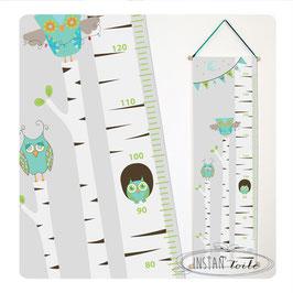 """Toise """"hiboux dans forêt d'arbres et guirlande de fanions : turquoise, vert anis et bleu ciel"""