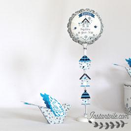 """Ballon personnalisé """"oiseau 3D et nichoirs en liberty bleu """""""