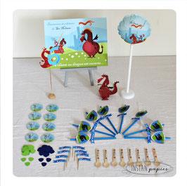 kit décoratif Dragons et chevaliers : cake topper, ballon, pailles, badges personnalisés...