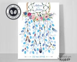 """Tableau à empreintes """"dreamcatcher : attrape rêves et couronne de fleurs avec plumes en aquarelle"""""""