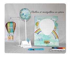 Tableau à empreintes : Montgolfières avec arc en ciel en aquarelle multicolore