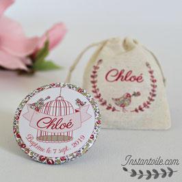 Lot de magnets avec pochettes personnalisées en coton pour remercier vos invités - cage et oiseaux en liberty Eloise rose
