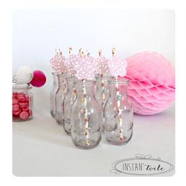 """8 pailles pour table de fête thème """"Fleurs couleurs pastel"""""""