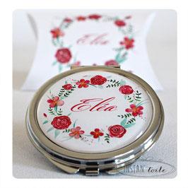 """Miroir """"couronne de fleurs rouges et feuillage vert"""""""