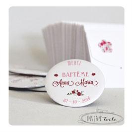 Lot de magnets ou magnets décapsuleurs pour remercier vos proches : design épuré en liberty Phoebe rose rouge
