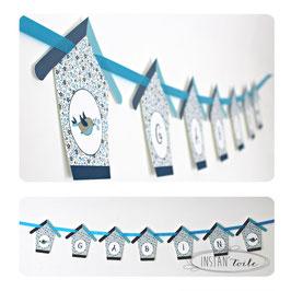 Guirlande personnalisée oiseaux et nichoirs en liberty bleu