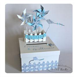 """URNE carrée thème """"moulins à vent en liberty Eloïse bleu lavande ou liberty au choix"""""""