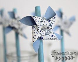 """pailles pour table de fête """"Moulin à vent qui tourne en liberty bleu étoiles """""""