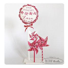 ballon personnalisé et 3 moulins à vent en liberty Mitsi fuchsia pour décoration
