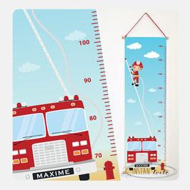 """Toise chambre enfant thème """"camion de pompier et chef pompier sur échelle"""""""