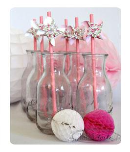 """pailles pour table de fête """"Moulin à vent qui tourne en liberty Eloise rose"""""""