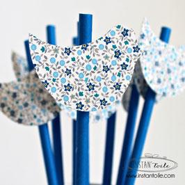 """8 pailles pour table de fête thème """"Oiseau en liberty bleu"""""""