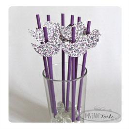 """8 pailles pour table de fête thème """"Oiseau en liberty violet"""""""