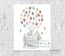 Tableau à empreintes : Maison qui s'envole avec garçon et ses ballons à la fenêtre
