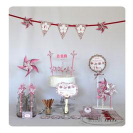 """kit anniversaire """"moulins à vent et liberty Éloïse rose"""""""
