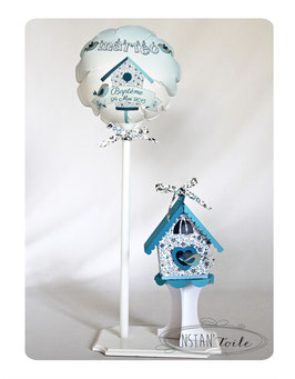 Ballon et Nichoir Liberty bleu pour décoration
