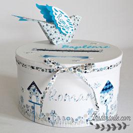 """URNE ronde thème """"oiseaux et nichoirs en liberty bleu"""""""