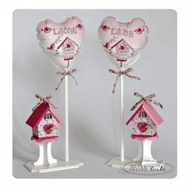 Ballon personnalisé et nichoir Liberty Eloïse rose pour décoration